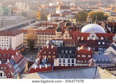 The urban area of Dresden view from the top. Germany. Saxony