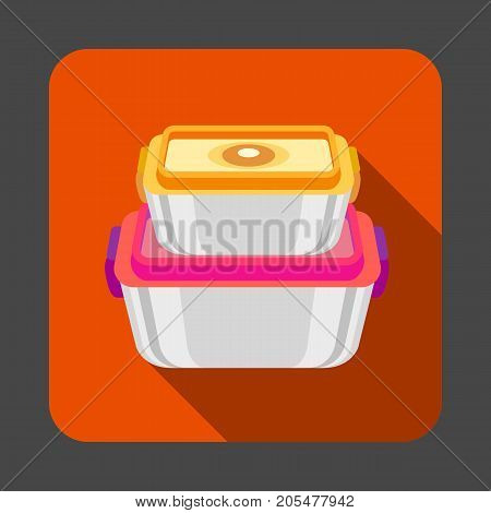 Food plastic box concept background. Cartoon illustration of food plastic box vector concept background for web design