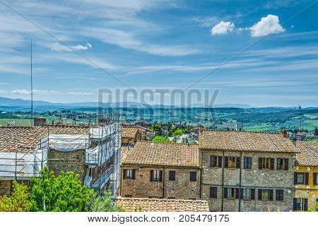 Old roofs in San Gimignano in Italy