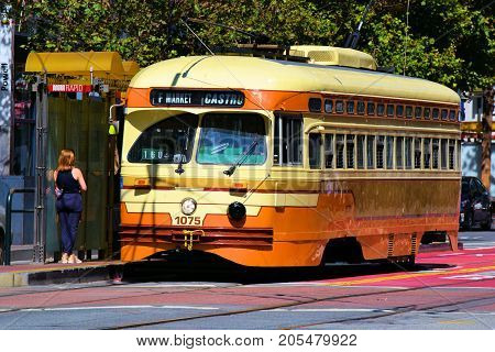 September 19, 2017 in San Francisco, CA:  Railway Street Car which is part of the local transit system taken in San Francisco, CA where people can ride these historic rail cars between the Castro and Fisherman's Warf on Market Street