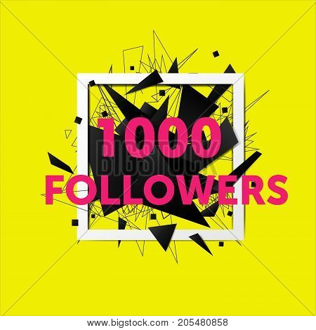 Vector thanks design template for network friends and followers. 500 followers card. Image for Social Networks. Web user celebrates large number of subscribers or followers