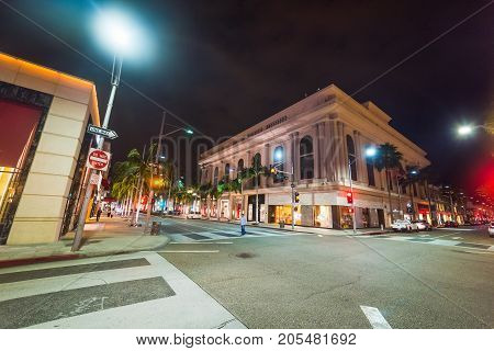 Rodeo Drive and Brighton Way crossroad in Beverly Hills California USA
