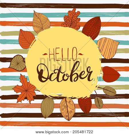 Hello october autumn flyer template with lettering. Bright fall leaves. Poster, card, label, banner design. Vector illustration
