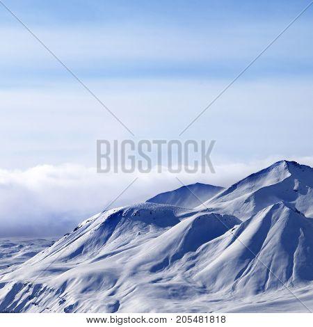 Evening Sunlight Mountains In Cloud