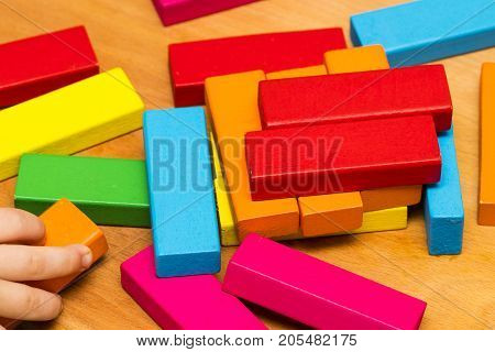 Scattered Heap Of Toy Colored Wooden Bricks