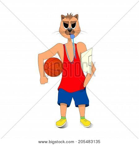 cat holding a basketball in his hand. a basketball coach. cartoon character