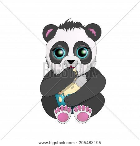 beautiful Panda with big eyes eat ice cream. cartoon character