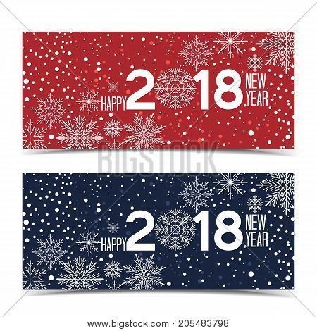 Vector illustration Christmas background with snowflakes. New Year 2018. Two banners