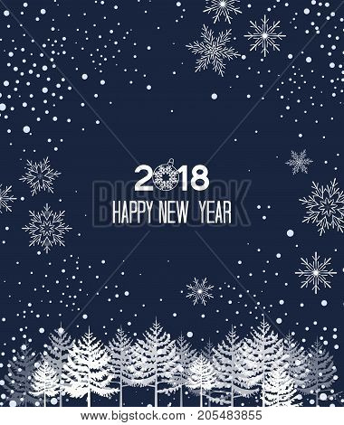 Vector illustration of falling snowflakes. Christmas background with snow. New Year 2018