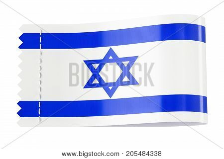 Clothing tag label with flag of Israel. 3D rendering isolated on black background