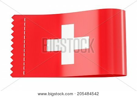 Clothing tag label with flag of Switzerland. 3D rendering isolated on white background