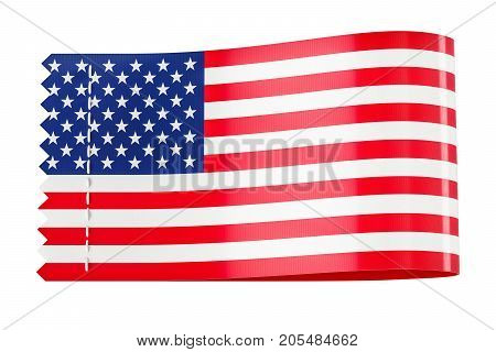 Clothing tag label with flag of USA. 3D rendering isolated on white background