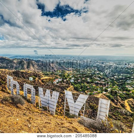 Los Angeles CA USA - October 28 2016: Hollywood sign under a cloudy sky