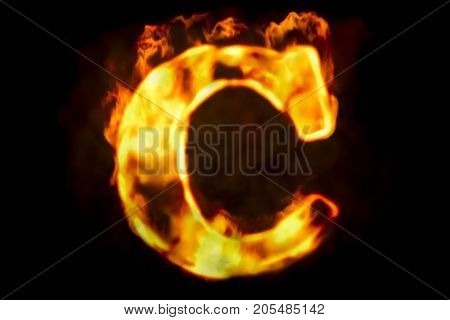Fire letter C of burning flame light 3D rendering isolated on black background