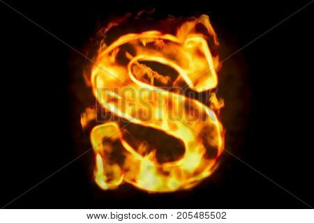 Fire letter S of burning flame light 3D rendering isolated on black background