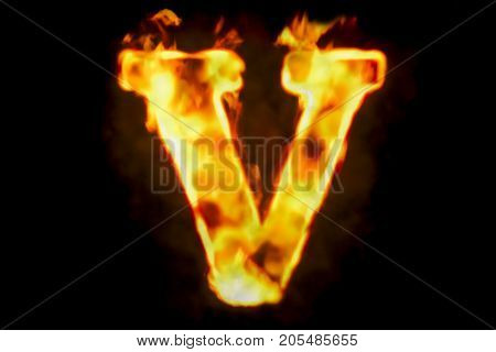 Fire letter V of burning flame light 3D rendering isolated on black background