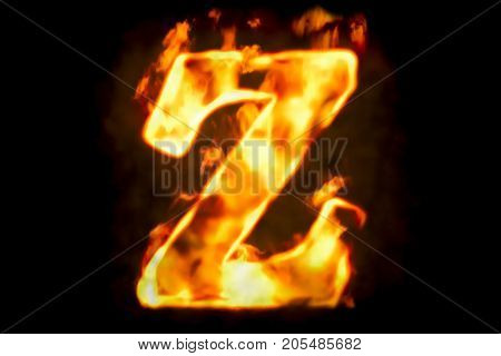 Fire letter Z of burning flame light 3D rendering isolated on black background