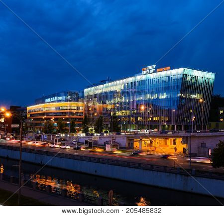 MOSCOW, RUSSIA - AUGUST 05, 2017: Night view of new office building on the river Yauza embankment in Moscow, Russia.