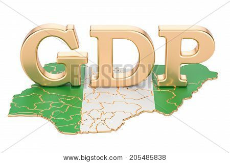 gross domestic product GDP of Nigeria concept 3D rendering isolated on white background