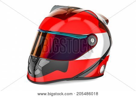 Racing helmet with flag of Austria 3D rendering isolated on white background
