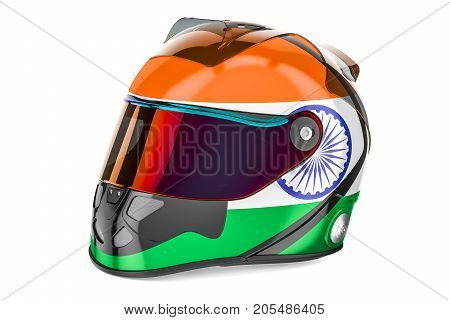 Racing helmet with flag of India 3D rendering isolated on white background