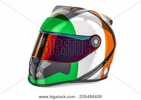 Racing helmet with flag of Ireland 3D rendering isolated on white background