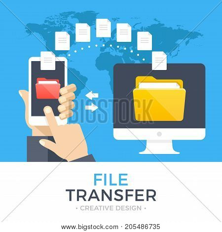 File transfer. Hand holding smartphone with folder on screen and documents transferred to computer. Copy files, exchange, file sharing concept. Modern flat design graphic elements. Vector illustration
