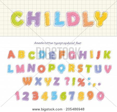 Font pencil crayon. Childly style. Handwritten. Isolated on white Vector