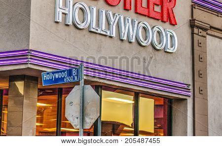 Los Angeles CA USA - October 29 2016: Hollywood boulevard sign close up