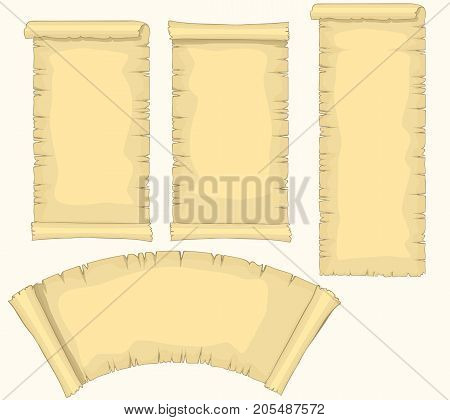 Papyrus scrolls Set, aged blank paper scroll, medieval retro yellowish manuscript, diploma or certificate template. Vector