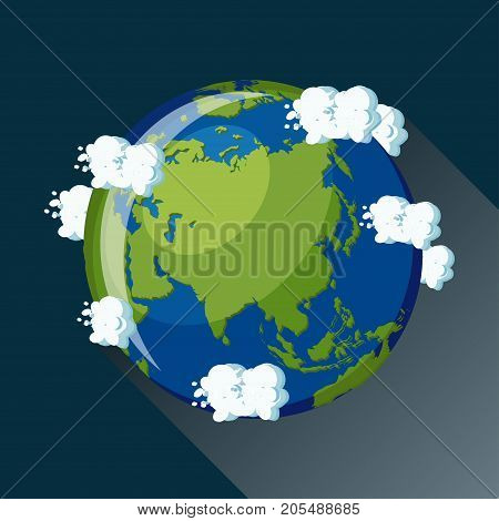 Asia map on planet Earth, view from space. Asia globe icon. Planet Earth globe map with blue ocean, green continents and clouds around. Cartoon style  flat vector illustration.