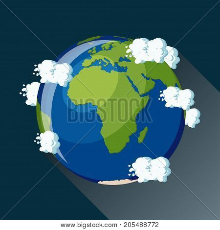Africa map on planet Earth, view from space. Africa globe icon. Planet Earth globe map with blue ocean, continents and clouds around. Cartoon style  flat vector illustration.