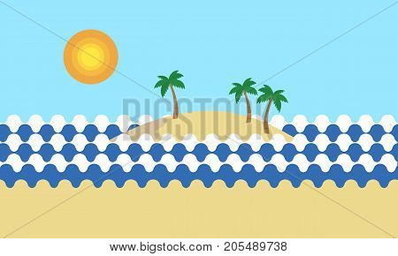 View of a tropical sandy beach with green palm trees on the sea shore with an island with hills and mountains covered palm trees under a summer blue sky with sun - vector