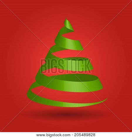 Green glossy ribbon in a shape of Christmas tree. Modern and elegant Merry Christmas theme. 3D vector illustration with dropped shadow and red gradient background.