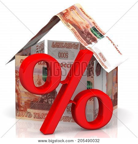 Interest on the mortgage. A house made of Russian rubles bills standing on white surface and red symbol of percentage. Isolated. 3D Illustration
