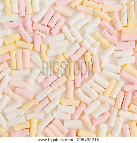 Colorful marshmallow pattern. Flat lay top view minimal texture.