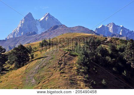 the Caucasus mountain range in Georgia. Ushba Mountain landscape