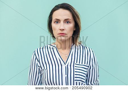 Close Up, Portrait Bad Mood Business Woman. Unhappy Business Woman Looking At Camera With Tired Face