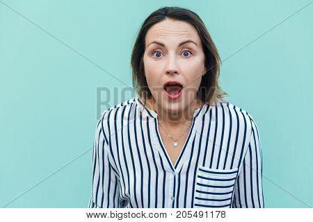 Wow! Amazed And Shocked Beautiful Adult Lady.