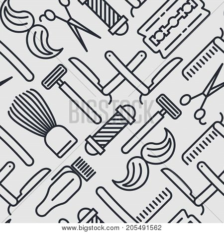 Monochrome barber shop seamless pattern with thin line icons of shaving accessories. Vector illustration for web page, banner, print media.