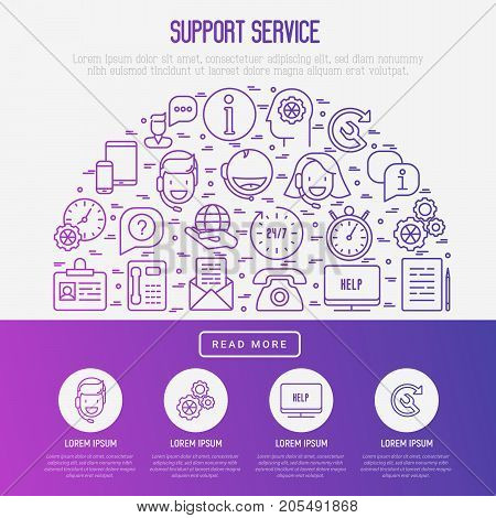 Support service concept in half circle with thin line call center or customer service icons. Vector illustration for banner, web page of support center with place for text.