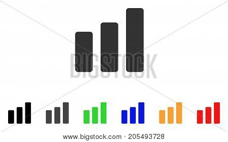 Bar Chart Increase icon. Vector illustration style is a flat iconic bar chart increase symbol with black, gray, green, blue, yellow color versions. Designed for web and software interfaces.