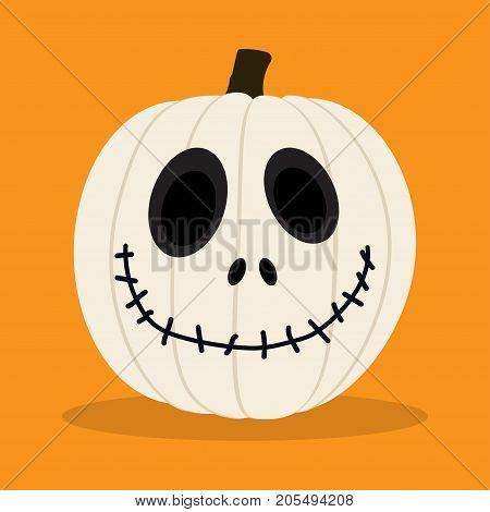 halloween pumpkin isolated on orange background cartoon happy white pumkin