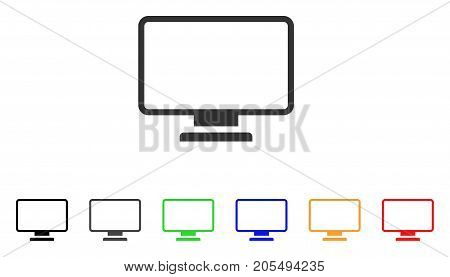 Monitor icon. Vector illustration style is a flat iconic monitor symbol with black, grey, green, blue, yellow color versions. Designed for web and software interfaces.