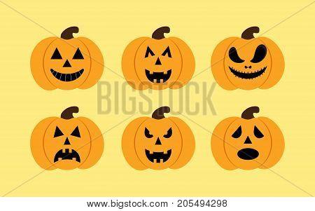 halloween pumkin vector orange icons set set of orange pumkin emoticons