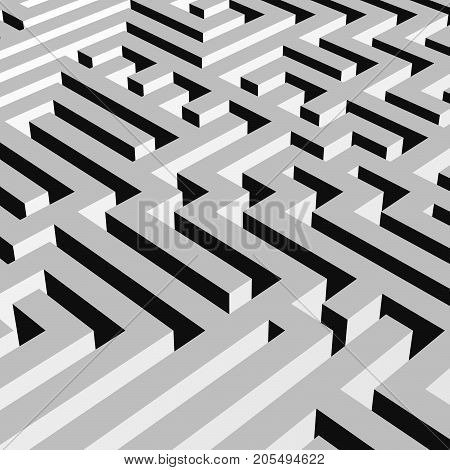 Aerial view of grey 3D maze labyrinth. Vector illustration.