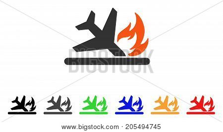Airplane Landing Crash icon. Vector illustration style is a flat iconic airplane landing crash symbol with black, gray, green, blue, red, orange color additional versions.