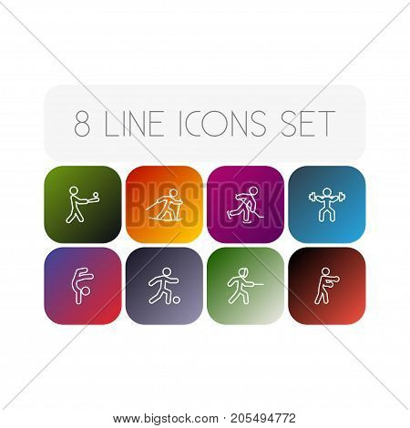Collection Of Puck, Batting, Swordplay And Other Elements.  Set Of 8 Fitness Outline Icons Set.