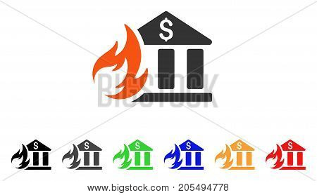 Bank Fire Disaster icon. Vector illustration style is a flat iconic bank fire disaster symbol with black, grey, green, blue, red, orange color versions. Designed for web and software interfaces.