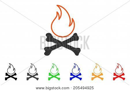 Bones Hell Fire icon. Vector illustration style is a flat iconic bones hell fire symbol with black, gray, green, blue, red, orange color additional versions. Designed for web and software interfaces.